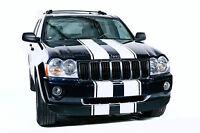 Vinyl Decal Hood Bumper Race Stripes Wrap for Jeep Grand Cherokee 05-10 White