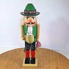 """Wooden Nutcracker German Bartender  with Hat Big Nose 15.5"""" Tall Vintage"""