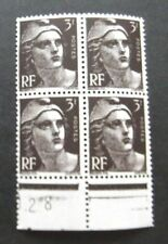 France-1945-Block of 4-3F Brown Marianne issues-MNH