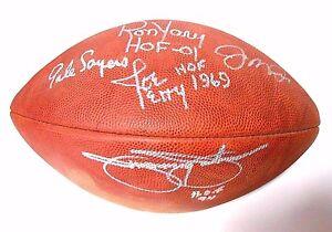 Joe Montana Gale Sayers Jimmie Johnson Joe Perry Signed Autograph Football Ball