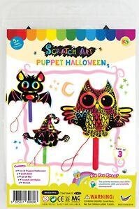 Halloween Scratch Art Puppet Craft Kit - Makes 3