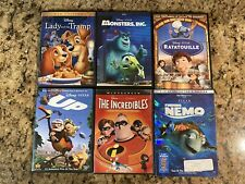 Disney Pixar 6 DVD Lot Ratatouille Nemo Incredibles Lady Tramp Monsters Inc Up