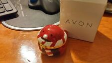 "Christmas Earrings CZ Studs in ""Robin"" Ceramic Collectible Keepsake Box ~AVON"