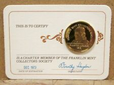 New Listing1973 Franklin Mint Collector'S Society Charter Member Card & Coin, 24K Plated