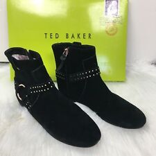 New With Box TED BAKER Sonoar Suede Black Ankle Boot Shoes - Size 7