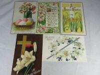 Lot of 5 Vintage Easter Tucks used Postcards Posted