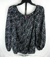Vince Camuto Womens Black & White Long Puffy Sleeve Blouse Top Size M