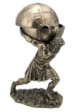 12 Inch Greek God Atlas Statue w/ Globe Container Sculpture Figurine Trinket Box