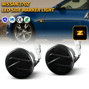 2PCS Dynamic Sequential Smoke Amber LED Side Marker Light Lamp For Nissan 370Z