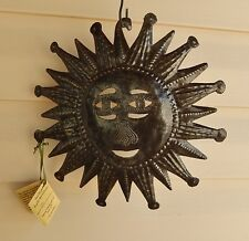 "Sun Haitian Metal Art Outdoor Indoor Hand Carved Artist Signed 11""  NWT Haiti"