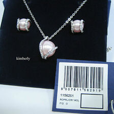Swarovski Nude Set Pendant & Pierced Earrings Pink Crystal Pearl MIB -1156291