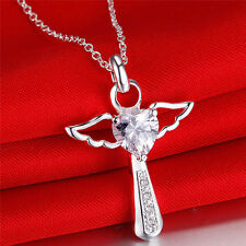 925 Silber pl.Glücksbringer Schutzengel AAA Kristall Kreuz Strass Anhänger Herz