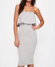 MISSGUIDED sleeveless frill midi dress ice grey/ white (M25/9)