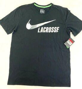 Nike Lacrosse LAX  T-Shirt Top Black, White, Lime Green Men's Large 100% Cotton