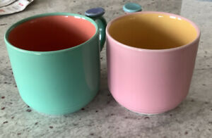 2 Lindt Stymeist Colorways Ceramic Mugs/Cups, Thumb Rests, Pink And Green