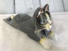 Hand Carved & Painted Wood Cat Shaped Door Stop Wedge Folk Art Indonesia