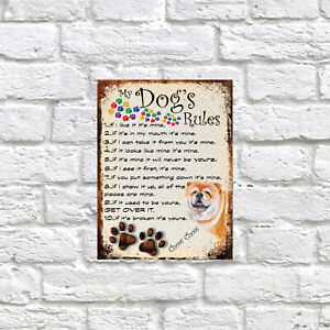 My dog's Rules Chow Chow Theme Theme Tin metal sign, Novelty gift