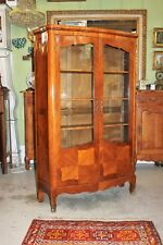 French Antique Inlaid Rosewood Louis XV Style Display Cabinet