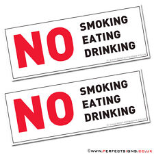 2 X NO SMOKING EATING DRINKING TAXI MINI CAB CAR HGV SIGN STICKERS (STKPN00079)