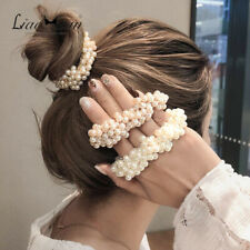 FASHION ROPE SCRUNCHIE PONYTAIL HOLDER LADY PEARL BEADS ELASTIC HAIR BAND White