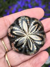 RARE DOMED ANTIQUE VICTORIAN GOLD +SILVER INLAID PIQUE WARE BROOCH/PIN