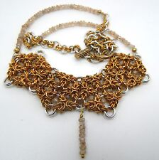 Hand-made Brass & Aluminium Chain Maille with Real, Natural Faceted Zircon Beads