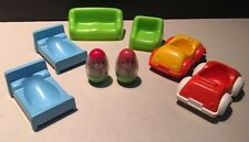 Vintage 1973 HASBRO WEEBLES COTTAGE HOUSE Weeble Wobble Furniture Lot Cars