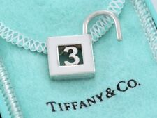 Tiffany & Co Sterling Silver Number 3 Three Pad Lock Love Charm Pendant w/ Pouch