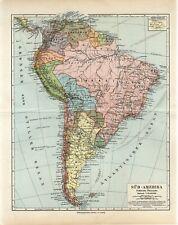 1895 SOUTH AMERICA POLITICAL MAP PERU BRAZIL ARGENTINA BOLIVIA CHILE Antique Map