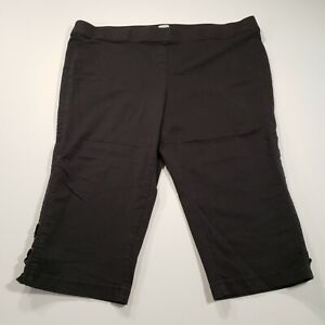 Avenue Black Womens Size 26 Solid Lace Up Cuffs High Rise Pull On Capri Pants