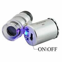 60x Handheld Mini Taschenmikroskop Schmuck Lupe LED-Licht