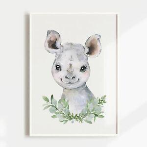 Nursery Print, Baby, Boys, Girls, Animals, Baby Rhino Wall Art, Jungle, Safari
