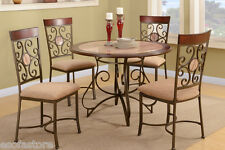 Modern 5 Pc Dining Set Dining Table Chair Set Faux Marble Dining Room Furniture