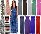 WOMENS PRINTED PLAIN BOOBTUBE SHEERING GATHER BANDEAU LONG MAXI DRESS LADIES 826