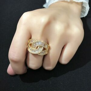 Yellow Gold Fashion Ring made with Cubic Zirconia Pave Infinity Style Size 8-New