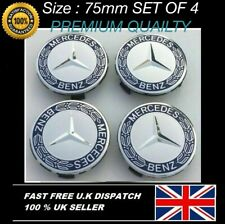 Mercedes Benz Alloy Wheel Centre Caps 75mm Badges Blue Hub Emblem x 4 - Fits All