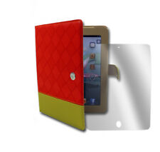CASE COVER+SCREEN PROTECTOR FOLDING PU LEATHER RED/YELLOW IPAD 2 2ND 3RD 4TH GEN