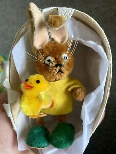 Vintage Miniature Schuco Bunny Rabbit Mohair & Chenille W/Paper Mache Egg Chick