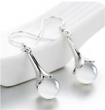 Pure 925 Silver White Moonstone Ear Dangle Earrings Women Jewelry Gift Party