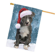 Christmas American Staffordshire Terrier Dog Santa Hat House Flag Flg54471