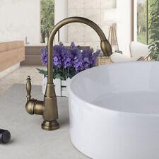 Antique Brass Swivel Spout Bathroom Basin Kitchen Sink Mixer Faucet 1 Hole Taps