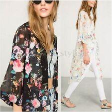 Women Summer Sheer Floral Loose Kimono Cardigan Coats Top Chiffon Cover Up Shirt
