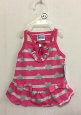 Girl Simply Wag Pink & White Stripe with Silver Hearts & Bows Dress X-Small