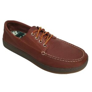 LL Bean Mens Loafers Campside Blucher Mocs Brown Leather Sz 11.5  M Shoes