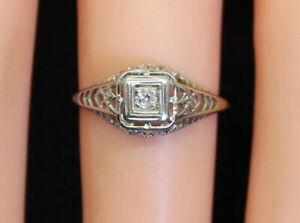 18K White Gold Women Antique Filigree Art Nouveau Solitaire Diamond Ring, Size 4