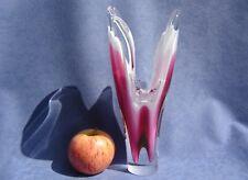 Flygsfors Vintage Crystal Art Glass Vase Designed by Paul Kedelv Pink Signed
