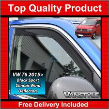 VW T6 TRANSPORTER GENUINE CLIMAIR FRONT WIND DEFLECTORS DARK SMOKED SPORT BLACK