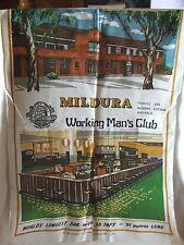 Vintage Retro Souvenir Tea Towel Mildura Working Man's Club Mildura 1894