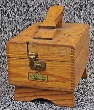 Vintage Griffin Shinemaster Shoe Shine Kit Oak Finger Joint Box Chest Wood 1950'