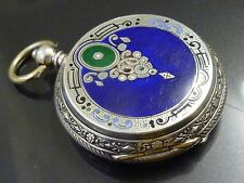 Antique Ottoman Enamel Silver Pocket Watch an Dial painted lion with crown